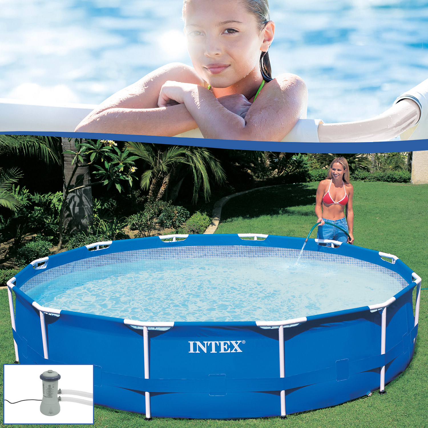 intex 366x76 stahlwand frame swimming pool schwimmbecken schwimmbad pumpe 28212. Black Bedroom Furniture Sets. Home Design Ideas