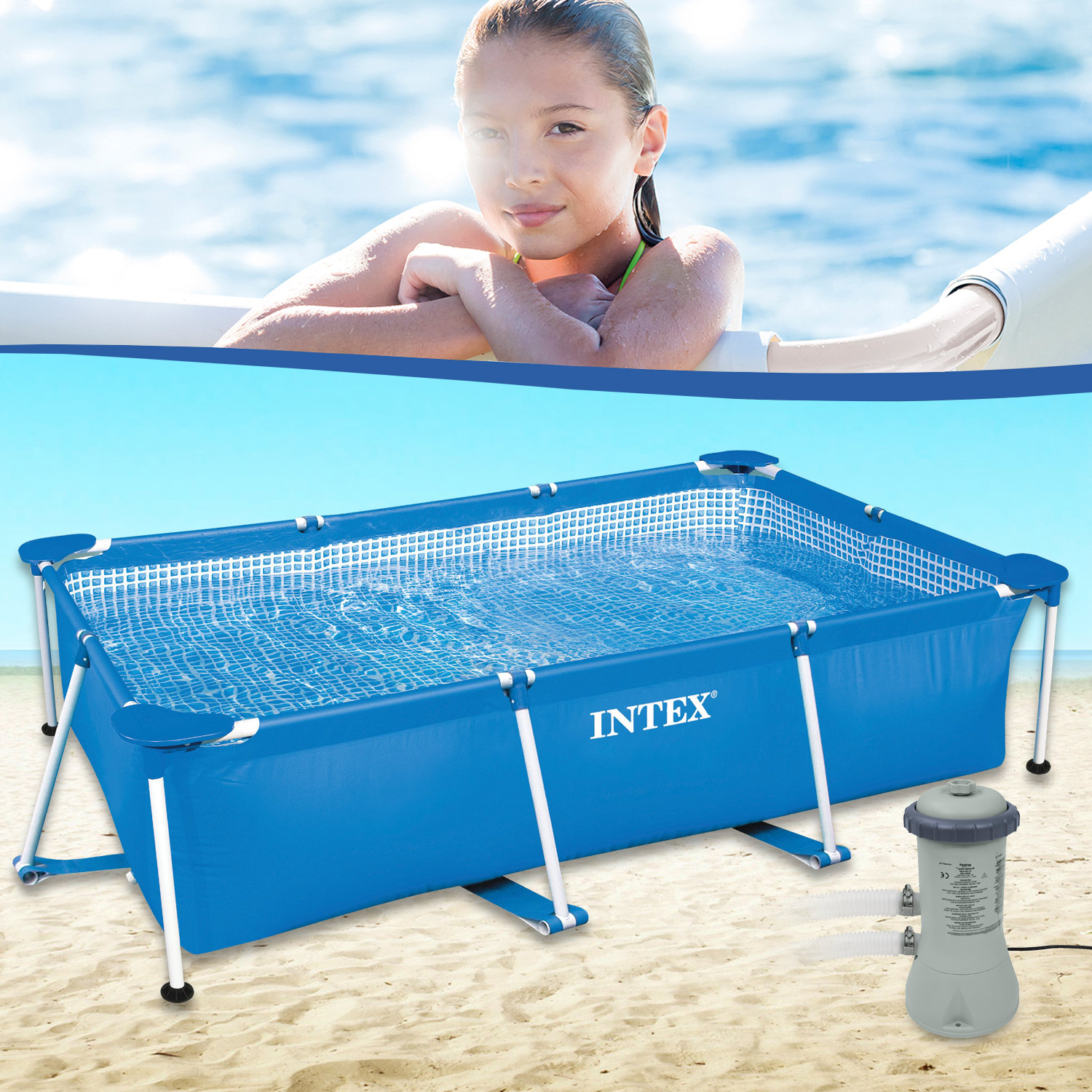 Intex 220 x 150 x 60 cm Swimming Pool Schwimmbecken Rechteck Frame ...