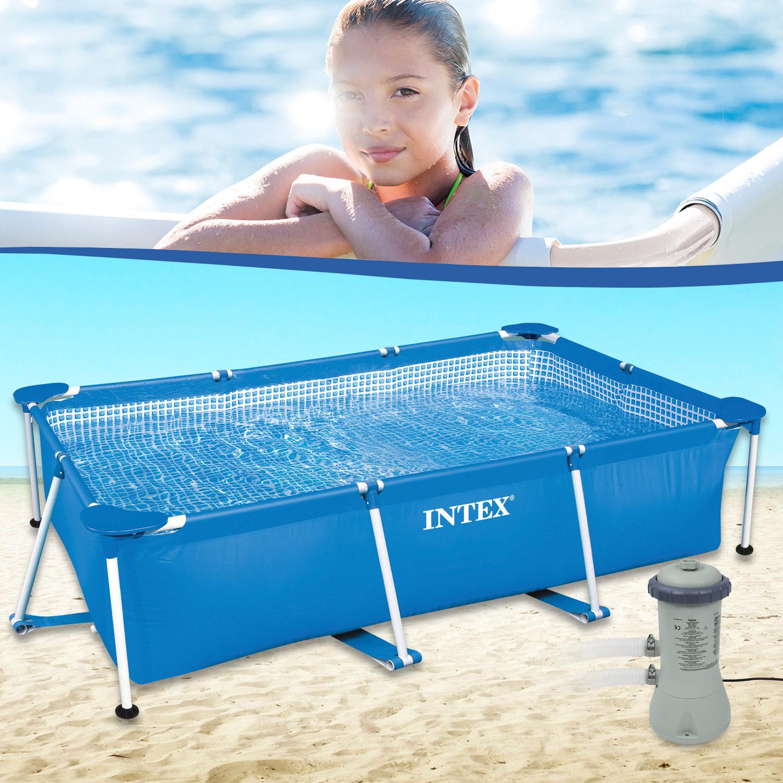 Intex 260x160x65 Swimming Pool Mit Pumpe Schwimmbecken Frame