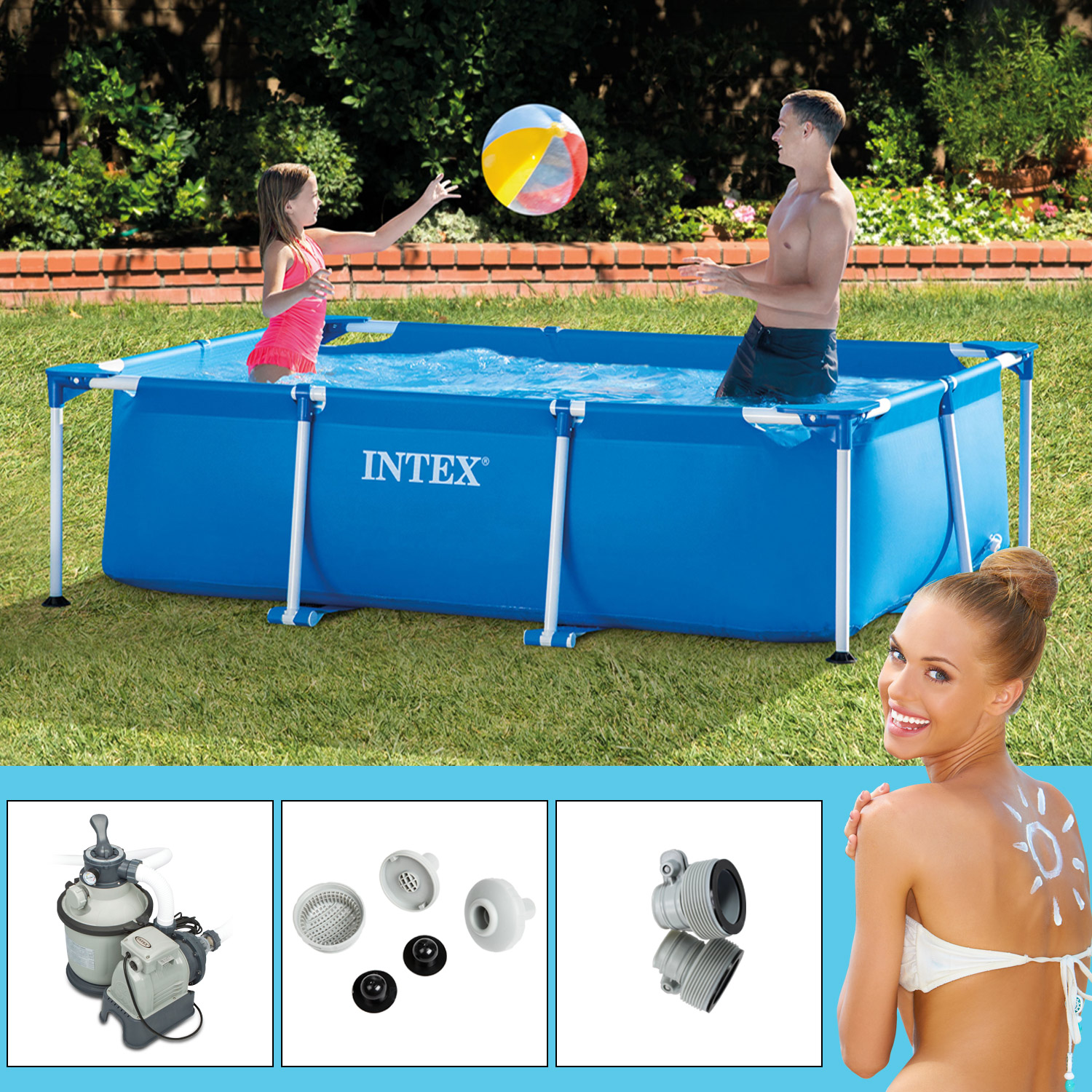 intex frame pool set family 300x200x75 cm mit sandfilteranlage. Black Bedroom Furniture Sets. Home Design Ideas