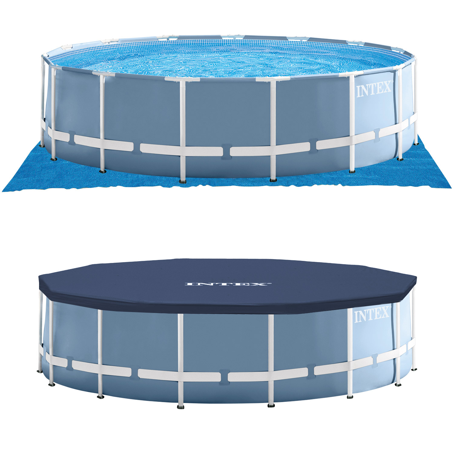 Intex swimming pool frame 457x122cm mit pumpe leiter for Swimmingpool stahl