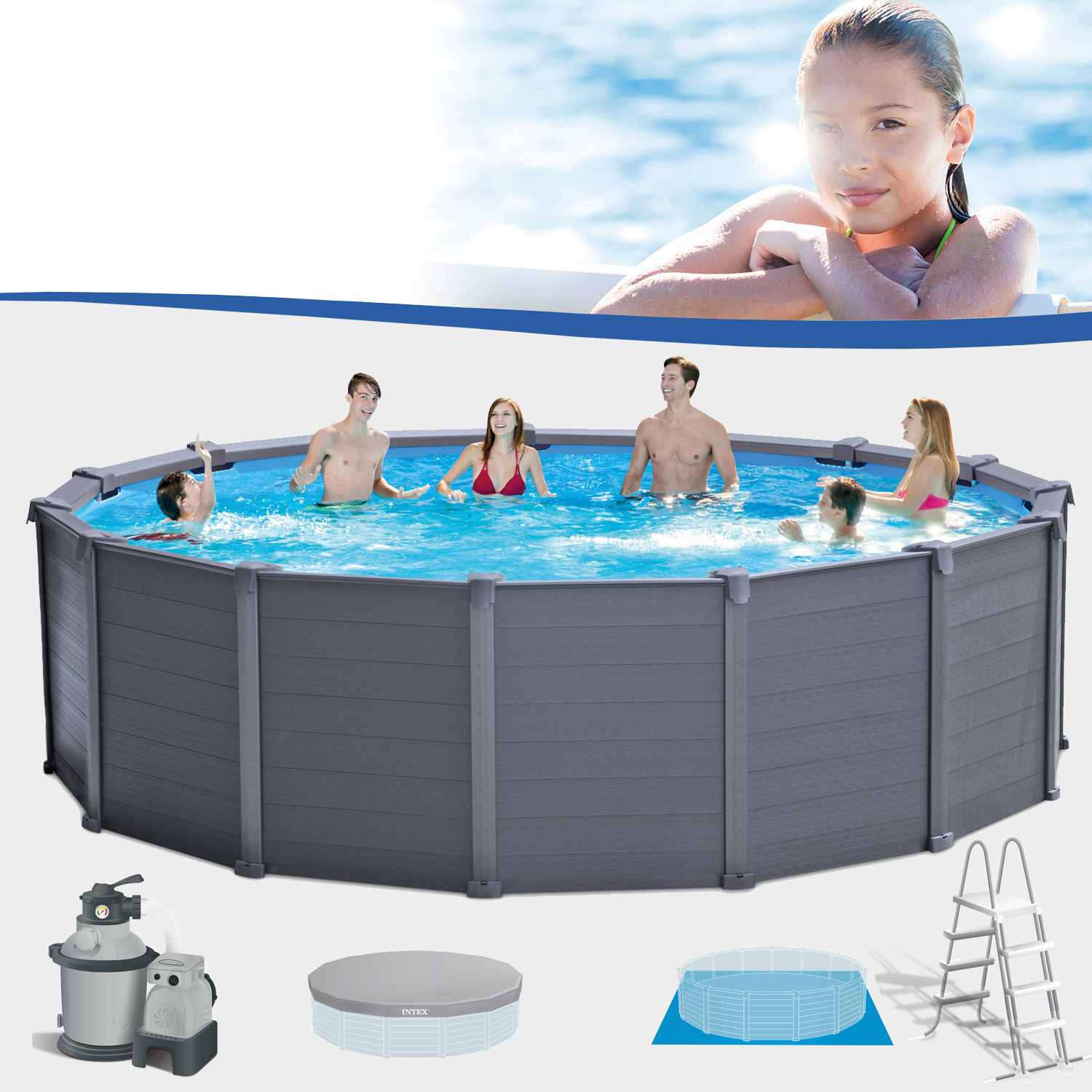 Intex 478 x 124 cm frame pool komplett set graphit mit for Pool 457x122 mit sandfilteranlage