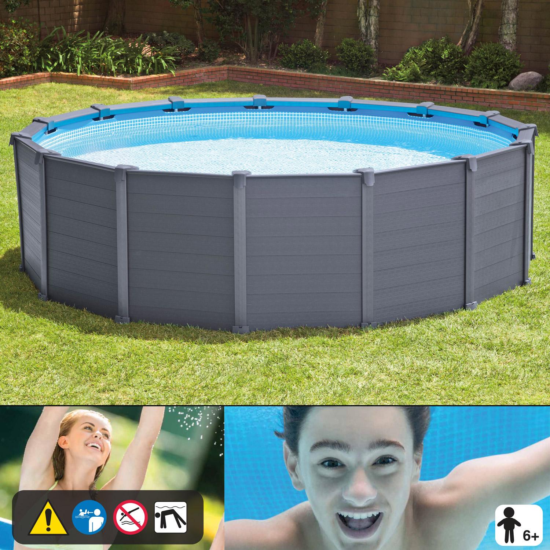 intex 478 x 124 cm frame pool komplett set graphit mit sandfilteranlage. Black Bedroom Furniture Sets. Home Design Ideas