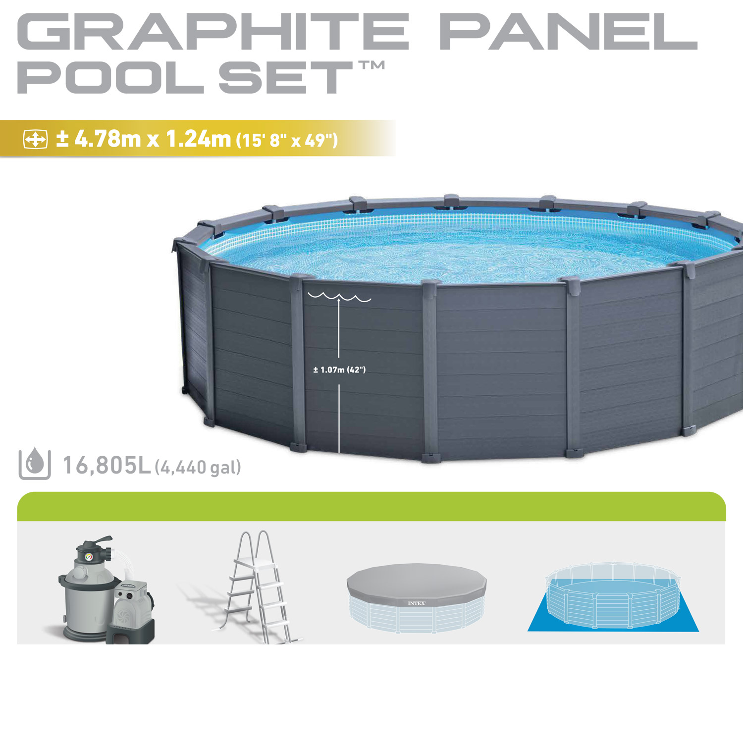 Intex 478 x 124 cm frame pool komplett set graphit mit for Aufblasbarer pool mit sandfilteranlage