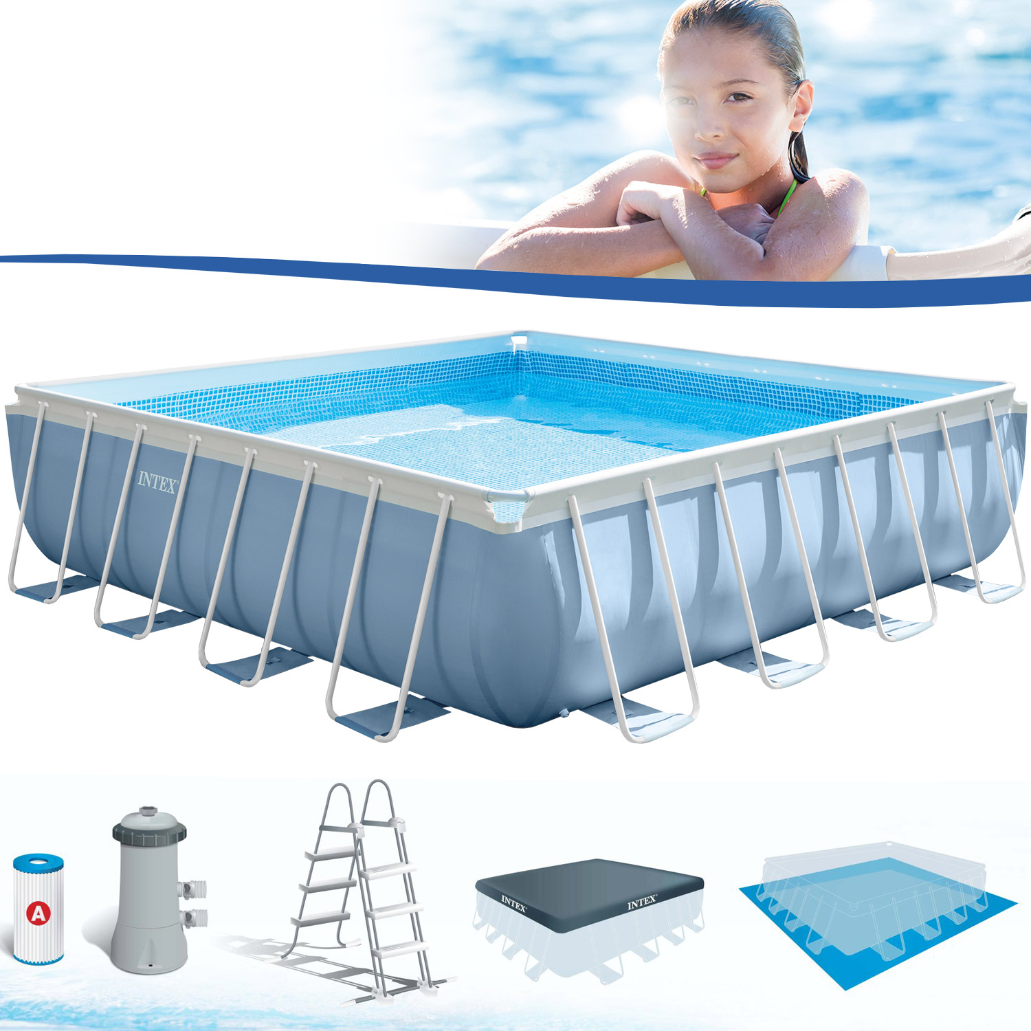 Intex frame pool set prism 427x427x107 cm pumpe schwimmbad for Hagebau intex pool