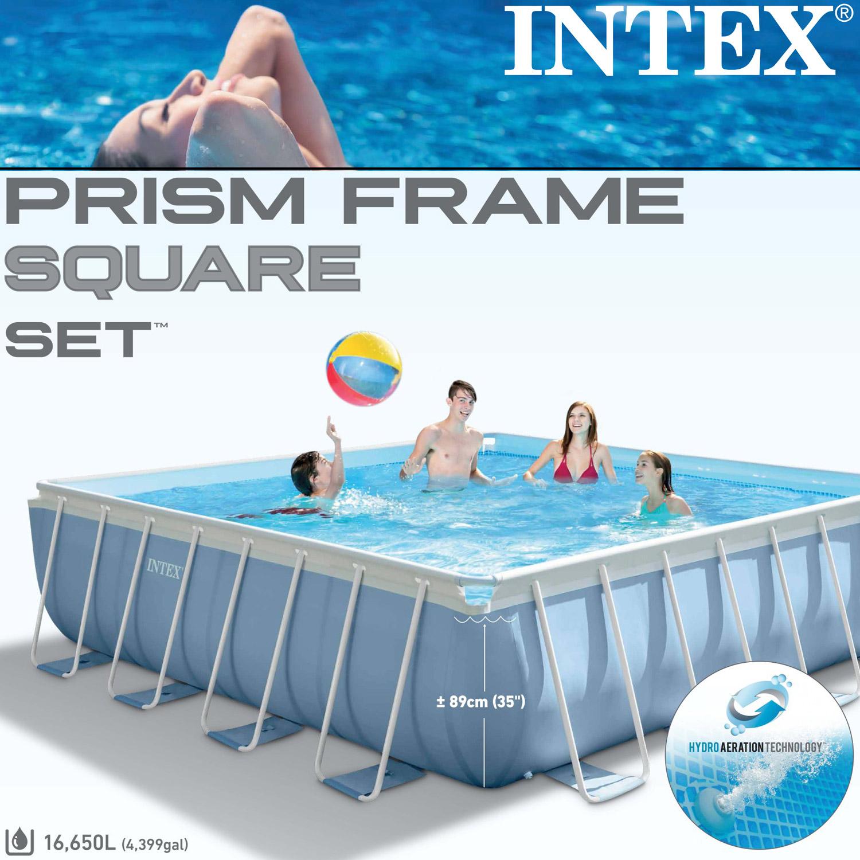intex frame pool set prism 427x427x107 cm pumpe schwimmbad schwimmbecken 28764 ebay. Black Bedroom Furniture Sets. Home Design Ideas