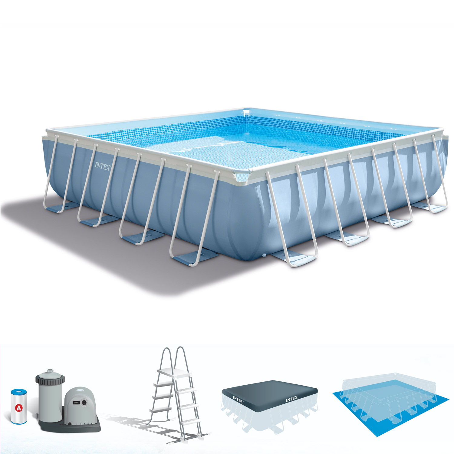 Intex swimming pool frame prism 300x175x80 cm mit pumpe leiter - Intex prism frame ...
