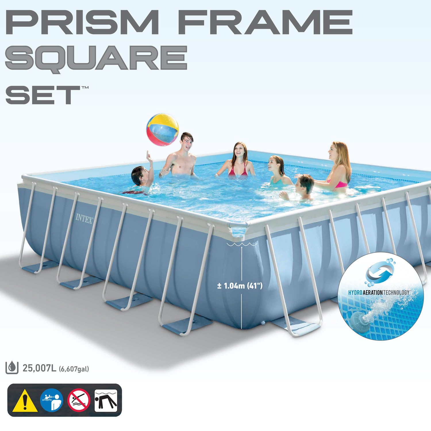 Intex 488x488x122 cm pool prism frame square set for Aufstellpool angebote