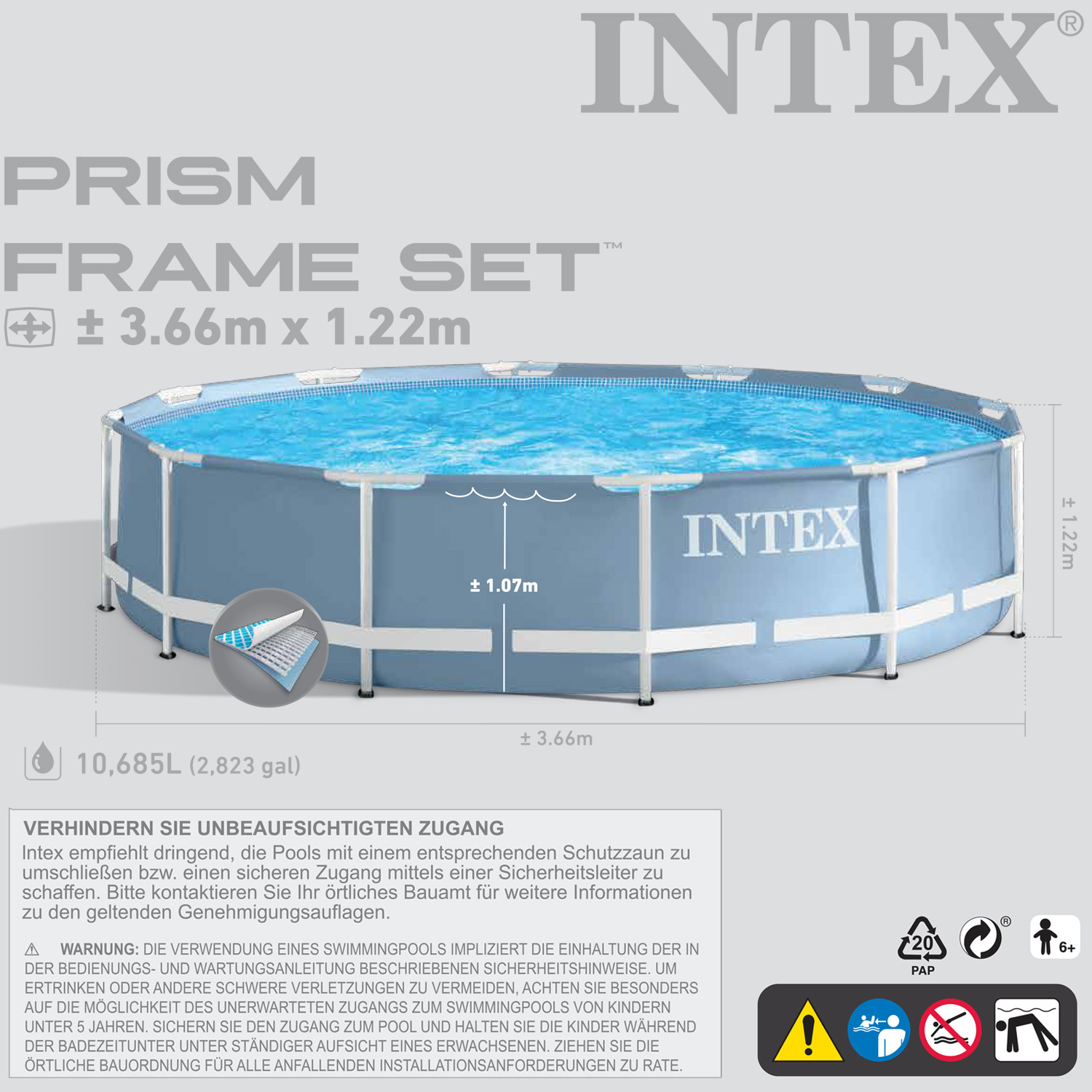 intex piscine piscina fuori terra frame pool rotonda 366x122 cm ebay. Black Bedroom Furniture Sets. Home Design Ideas