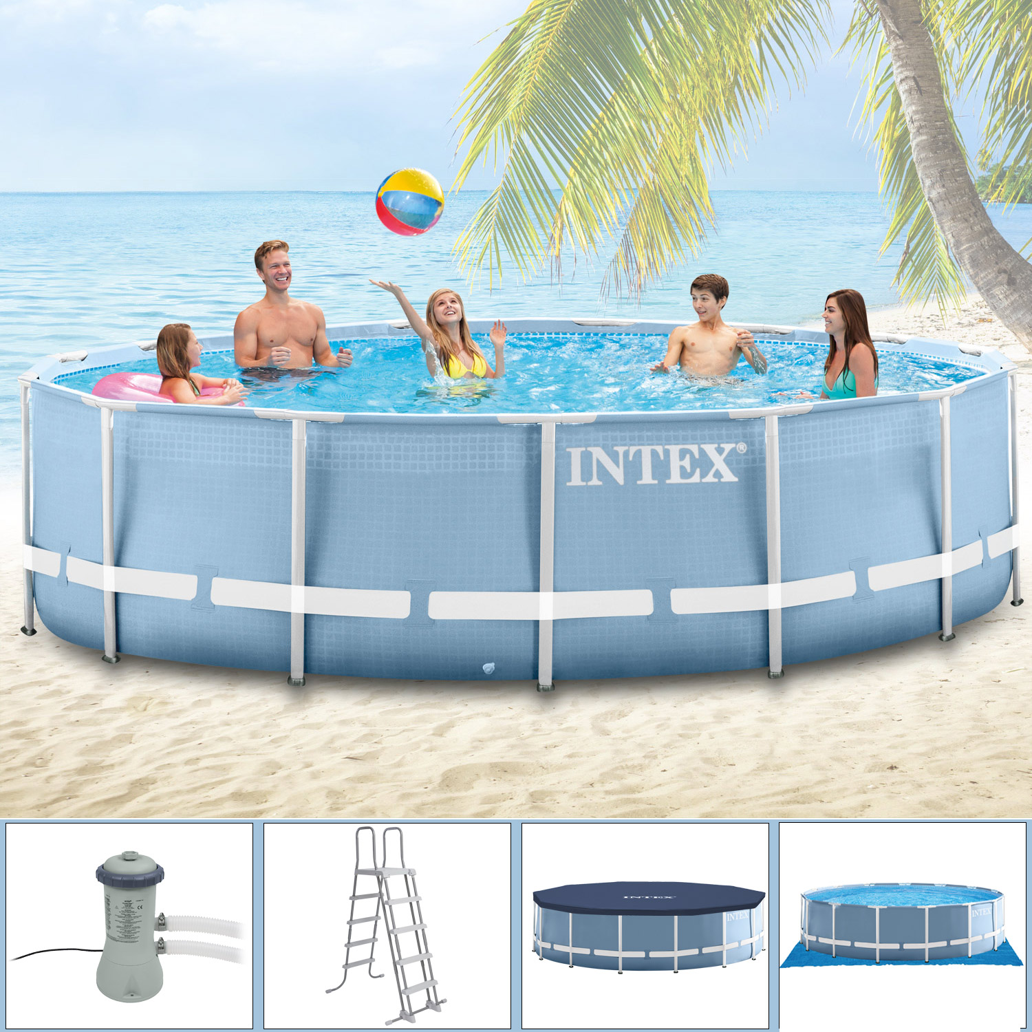 Intex 366x122 komplettset swimming pool schwimmbad frame for Garten pool intex