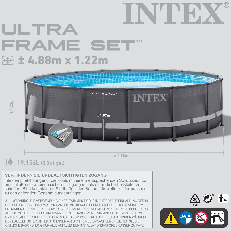 Intex 488x122 Schwimmbecken Swimming Pool Schwimmbad Stahlwand ...