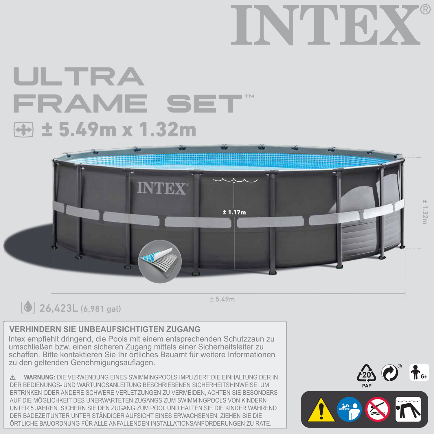 intex 28909 ersatzpool 549x132 cm swimming pool frame ohne zubeh r. Black Bedroom Furniture Sets. Home Design Ideas