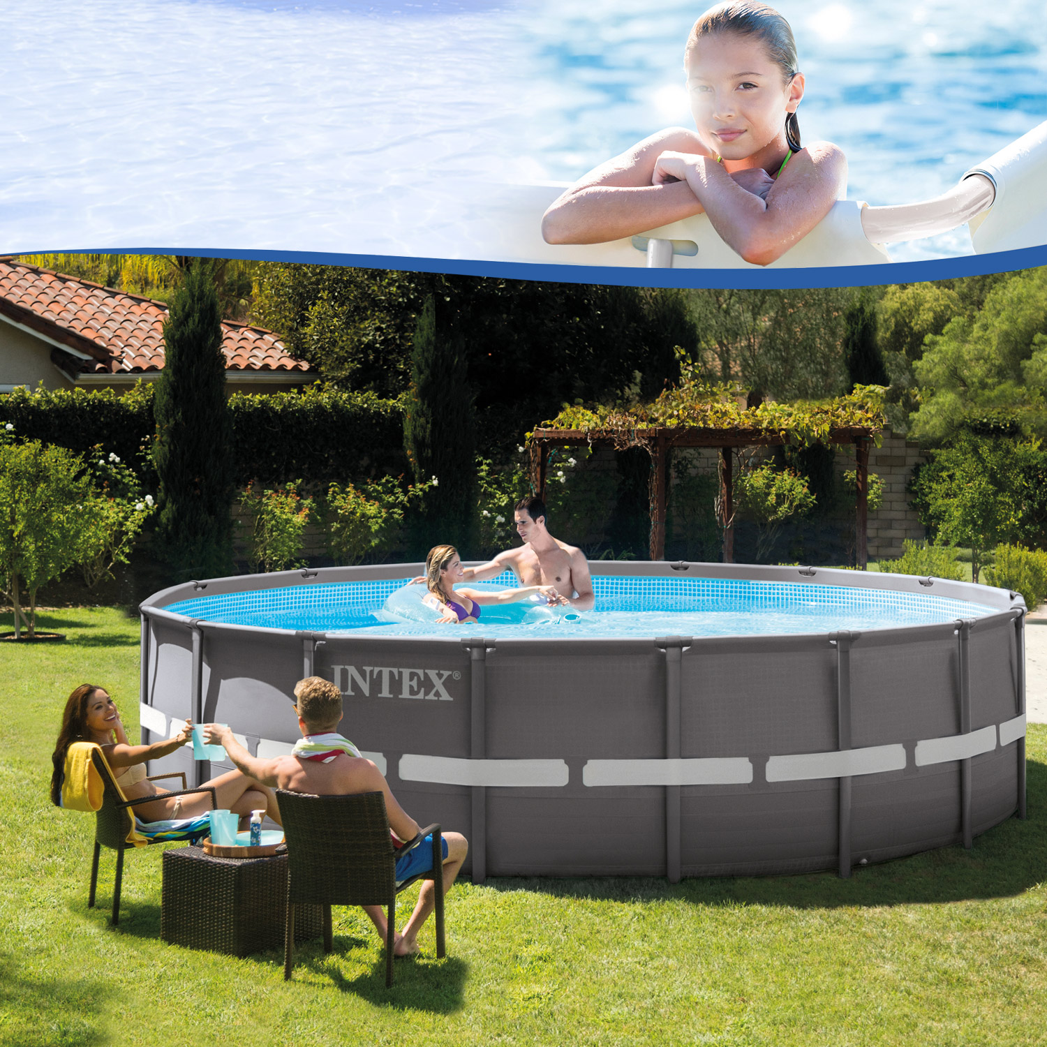intex 488x132 set swimming pool frame stahlwandbecken schwimmbecken schwimmbad ebay. Black Bedroom Furniture Sets. Home Design Ideas