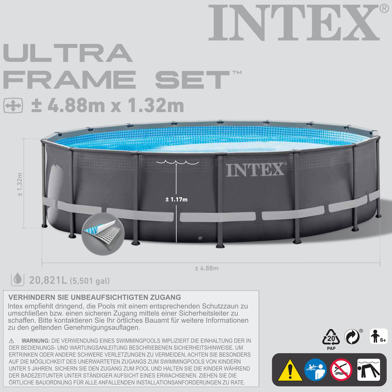 intex 28924 ersatzpool 488x132 cm swimming pool frame ohne zubeh r. Black Bedroom Furniture Sets. Home Design Ideas