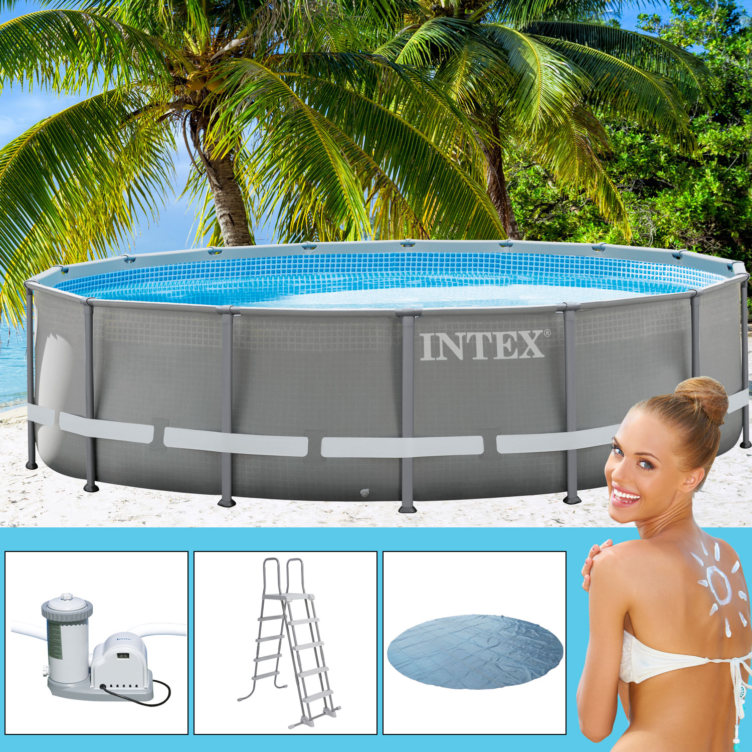 Intex 488x132 cm swimming pool frame mit filterpumpe for Swimmingpool angebote