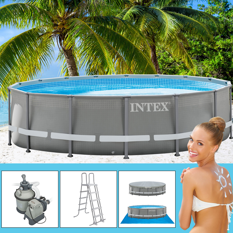 intex 488x132 cm swimming pool frame mit sandfilter. Black Bedroom Furniture Sets. Home Design Ideas