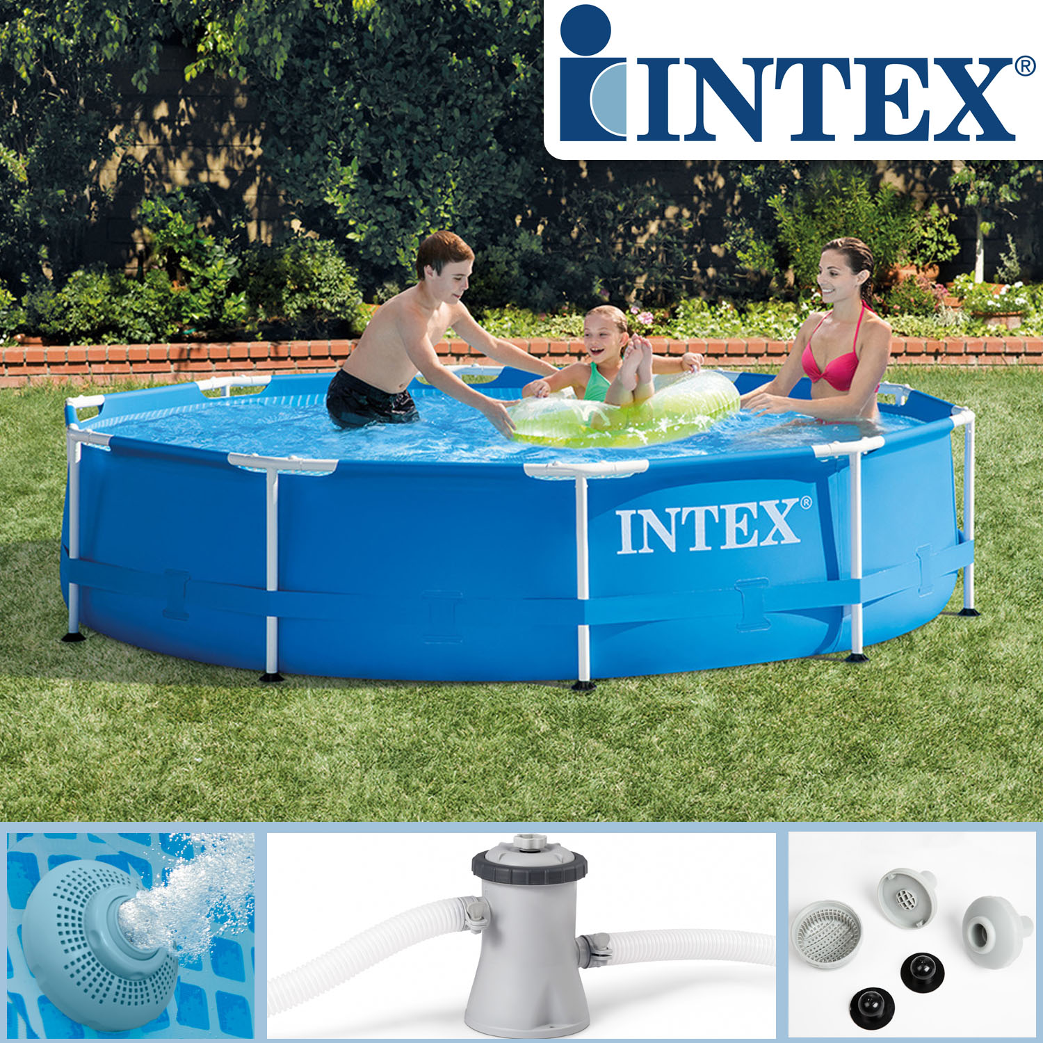 Intex 305x76 swimming pool frame stahlwandbecken for Pool aufblasbar mit pumpe
