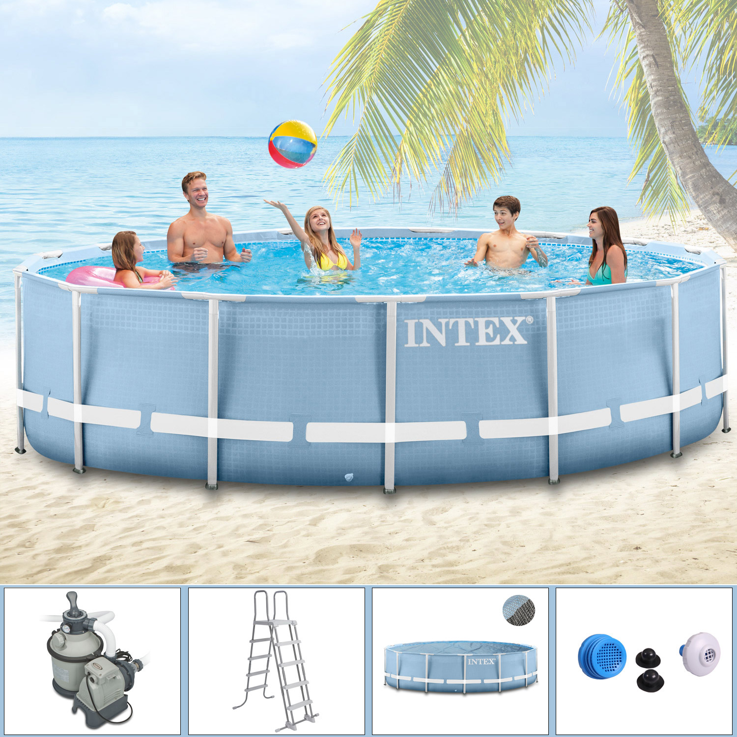 intex 366x122 komplettset swimming pool schwimmbad frame metal stahlwand ebay. Black Bedroom Furniture Sets. Home Design Ideas