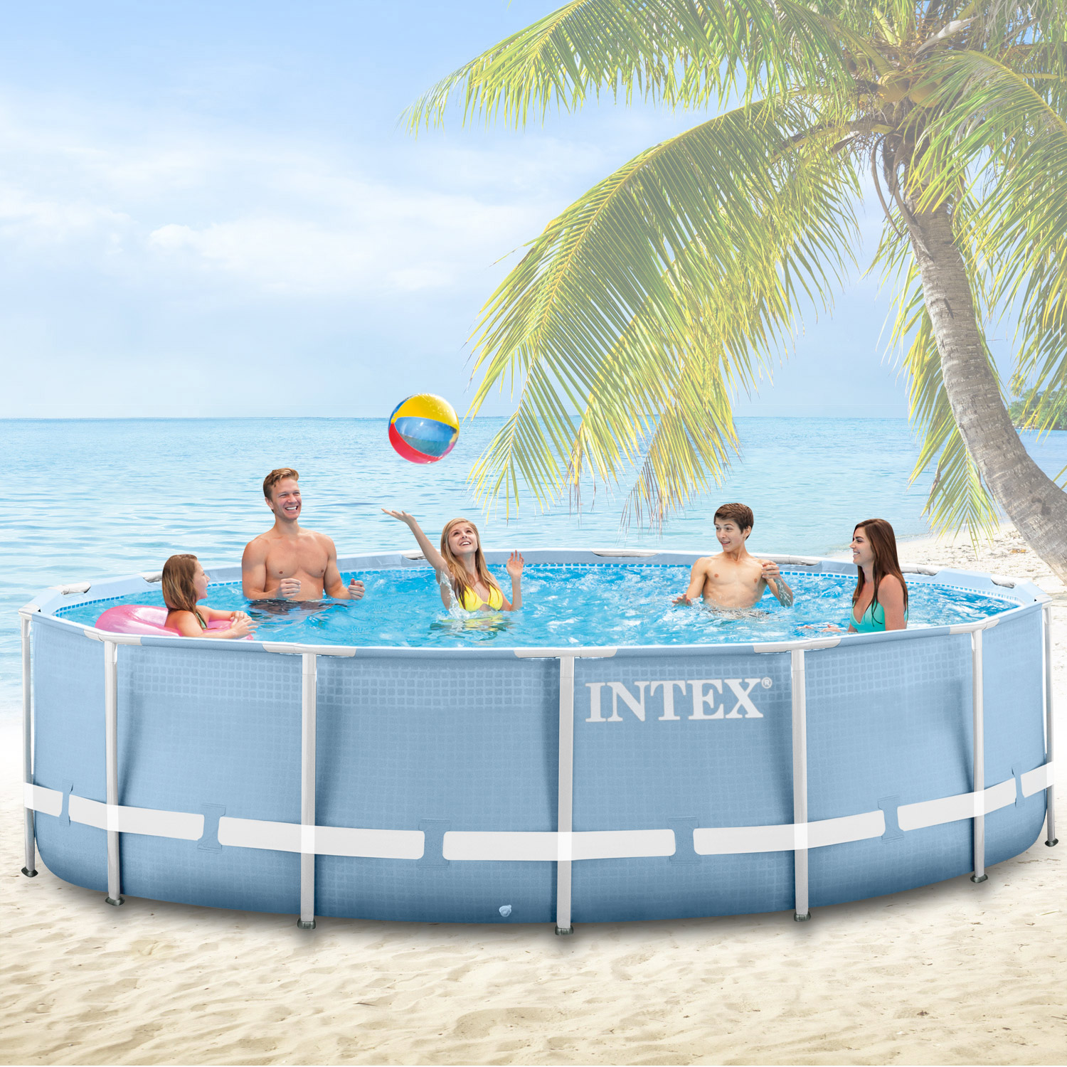 Intex 366x91 schwimmbecken swimming pool schwimmbad frame for Stahlwand swimming pool