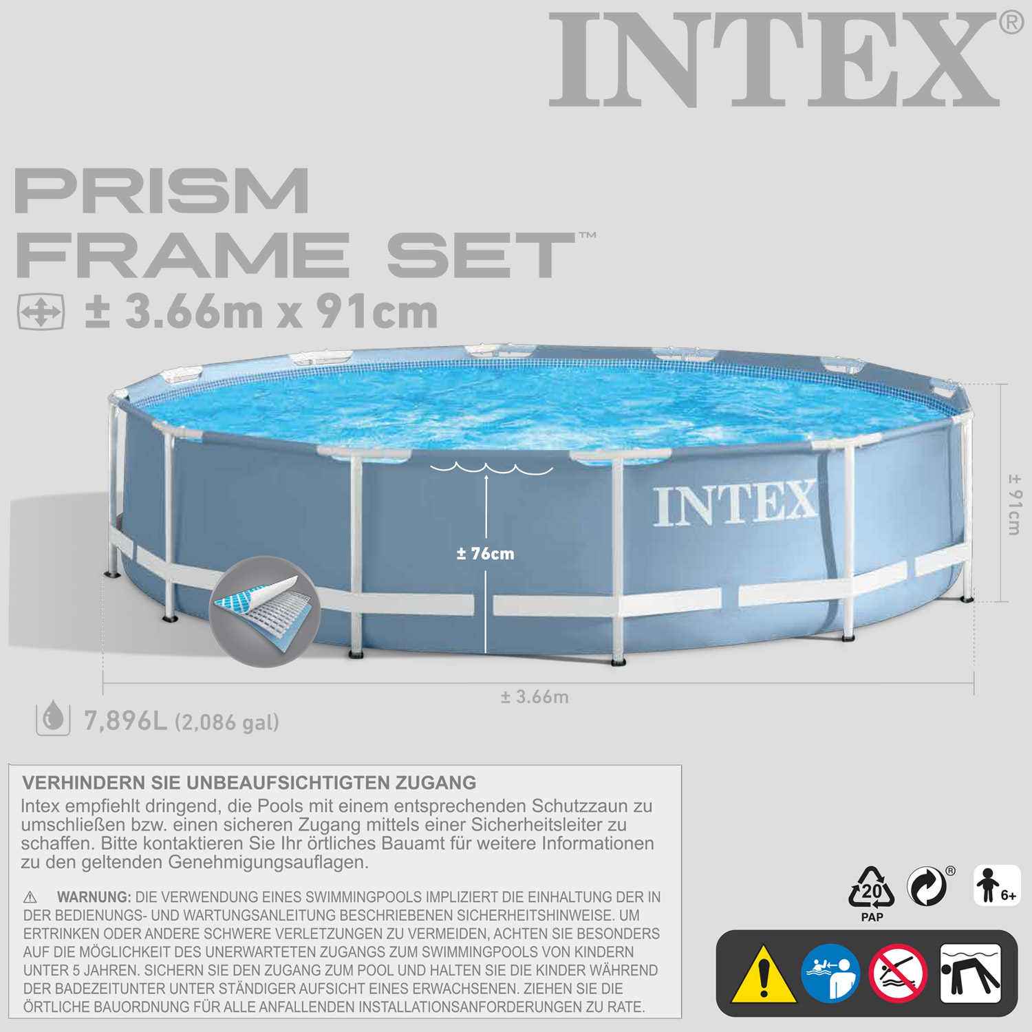 Intex 366x91 schwimmbecken swimming pool schwimmbad frame for Garten pool intex