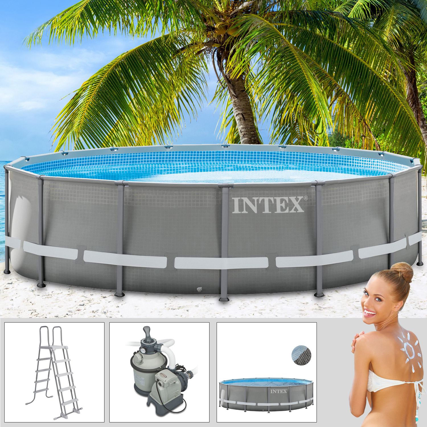 Intex 549x132 cm swimming pool frame set mit sandfilter for Swimmingpool angebote