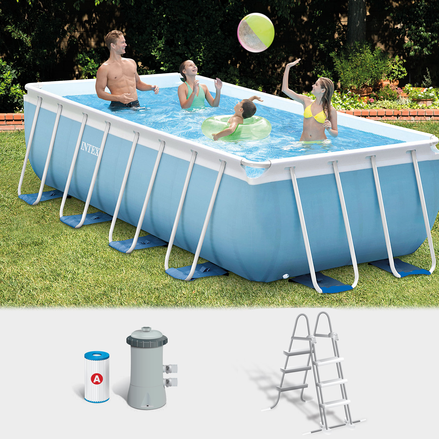 Intex frame pool set prism 400x200x100 cm pumpe schwimmbad for Garten pool intex