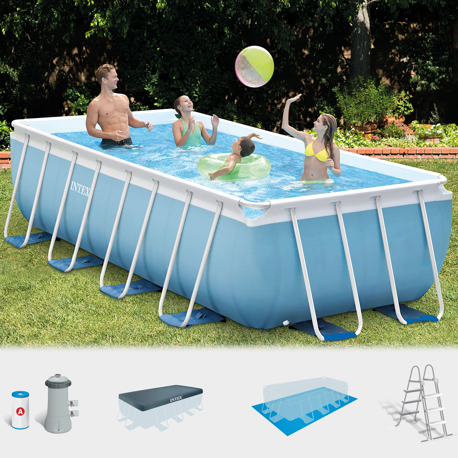 Intex frame pool set prism 488x244x107 cm pumpe schwimmbad for Garten pool intex