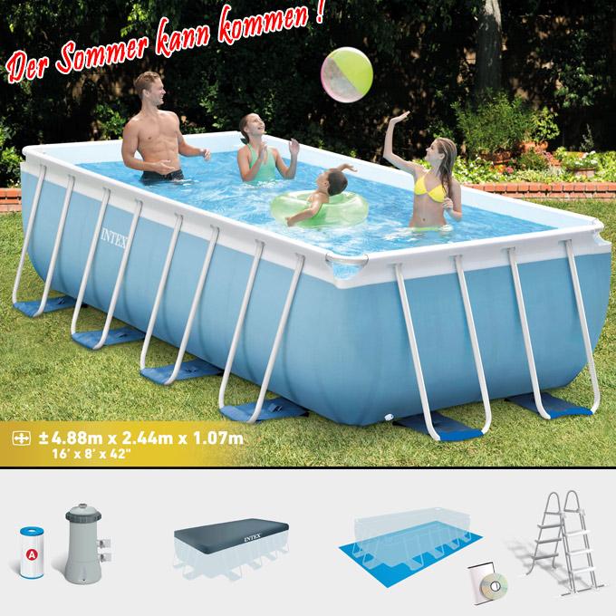 Intex swimming pool frame prism 488x244x107 cm komplettset for Swimming pool komplettset