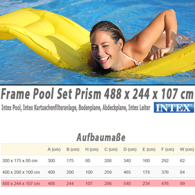 intex frame pool set prism 488x244x107 cm pumpe schwimmbad. Black Bedroom Furniture Sets. Home Design Ideas