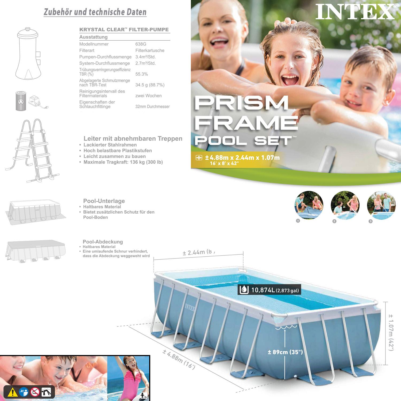 intex frame pool set prism 488x244x107 cm pumpe schwimmbad. Black Bedroom Furniture Sets. Home Design Ideas