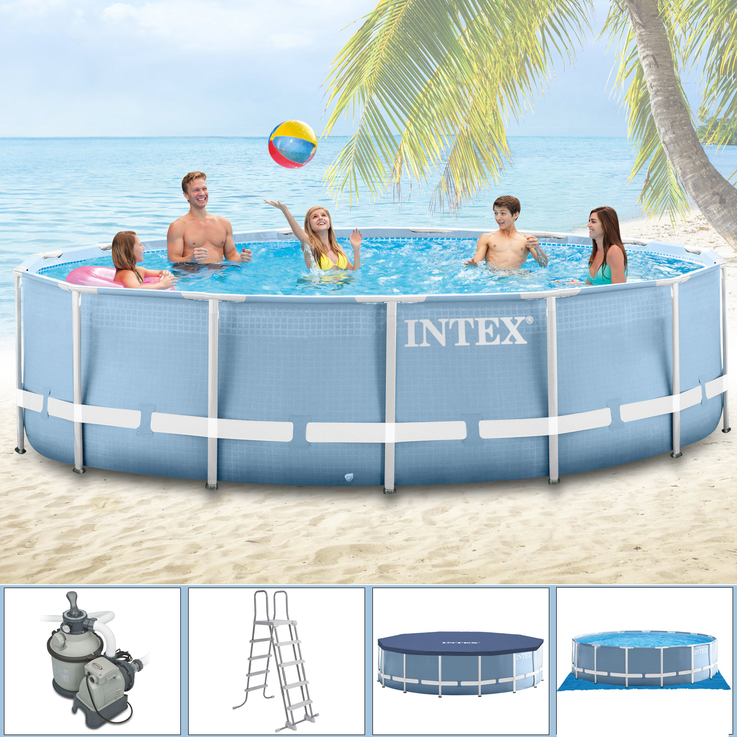 intex swimming pool frame 366x122 cm mit leiter sandfilter a plane und u plane. Black Bedroom Furniture Sets. Home Design Ideas