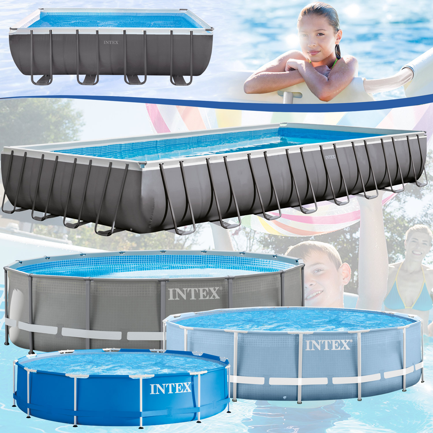 intex frame stahlrohrbecken swimming pool schwimmbad. Black Bedroom Furniture Sets. Home Design Ideas