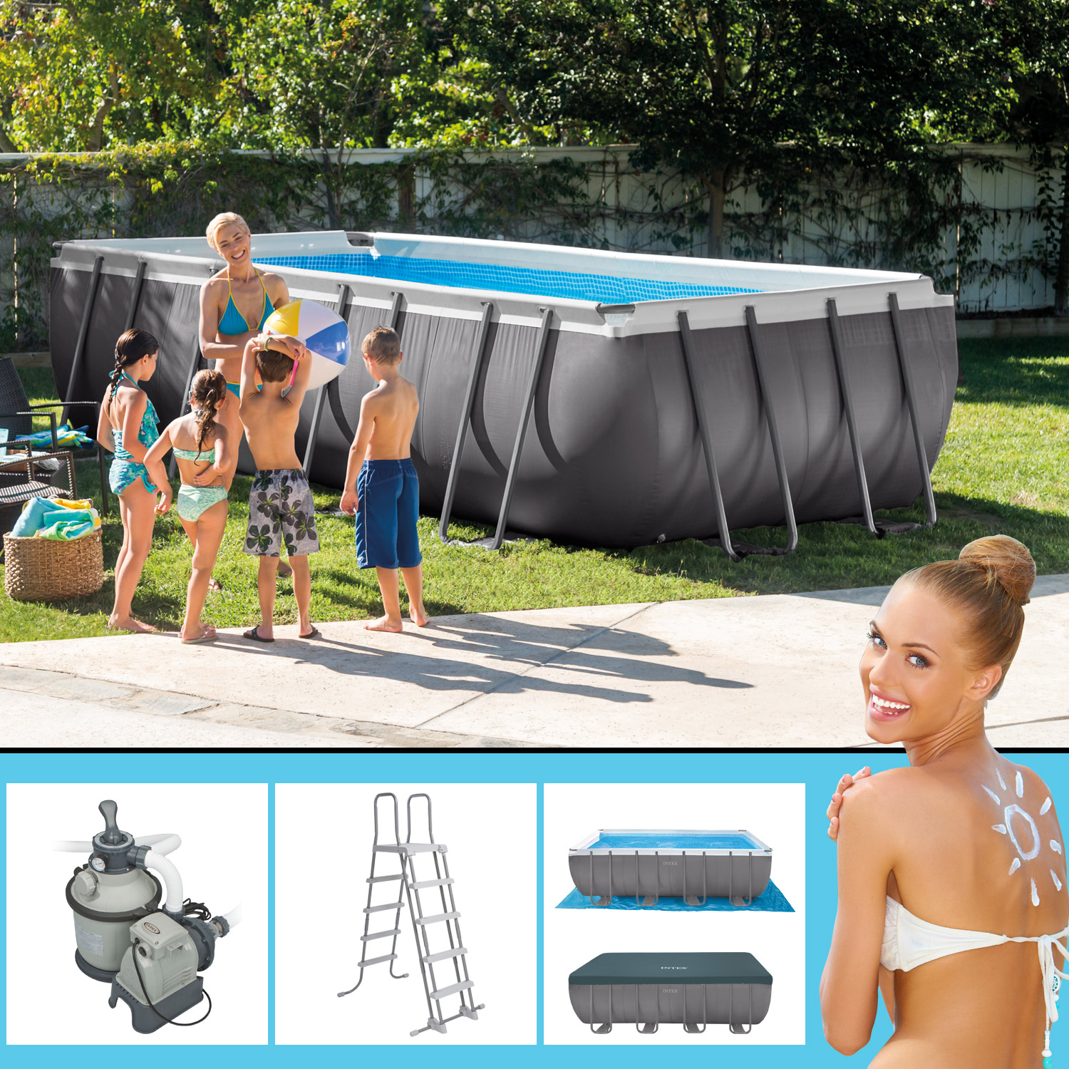 Intex 549x274x132 Swimming Pool set Rechteck Stahlwand Frame ...