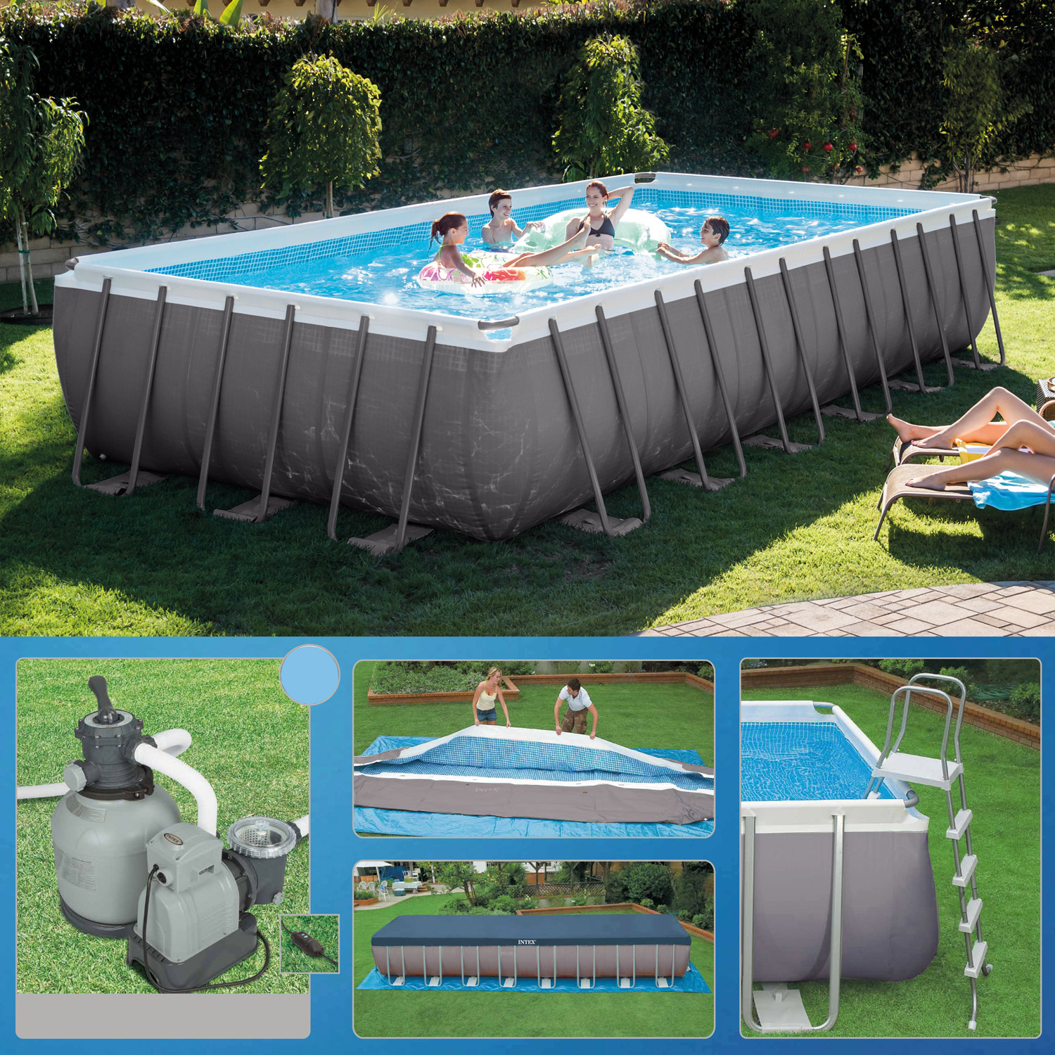 Intex swimming pool frame ultra quadra 732x366x132 cm for Swimmingpool angebote