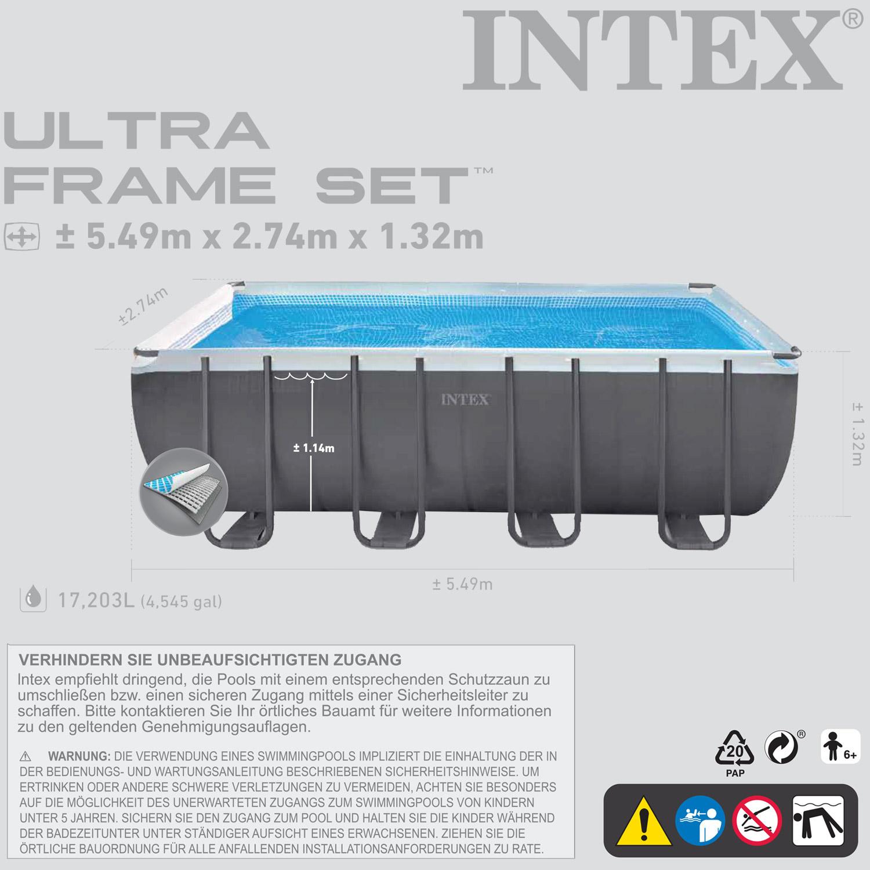 intex swimming pool frame 549x274x132cm mit sandfilter leiter solarfolie. Black Bedroom Furniture Sets. Home Design Ideas