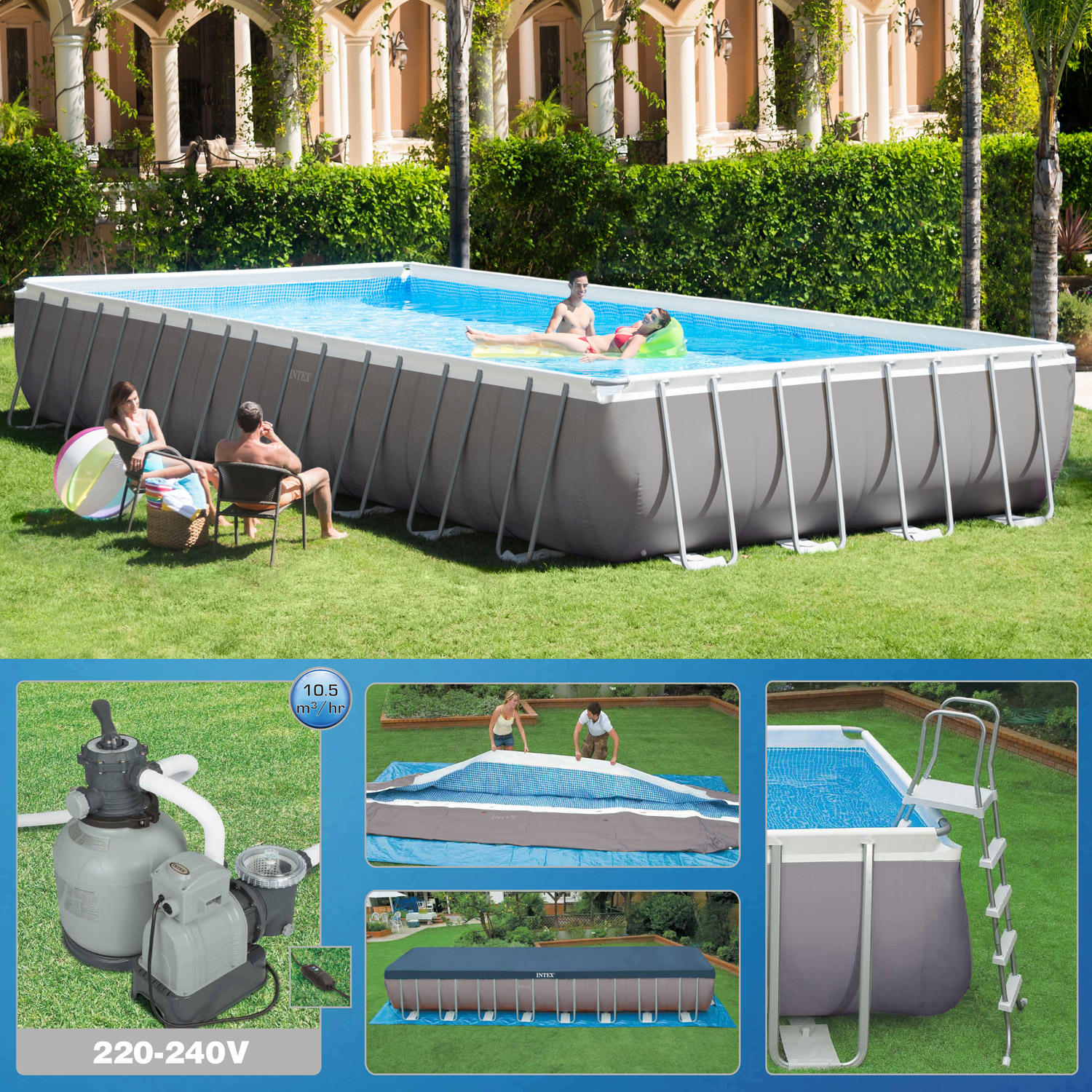 intex 975 x 488 x 132cm swimming pool rechteck stahlwand frame schwimmbad 26372 ebay. Black Bedroom Furniture Sets. Home Design Ideas