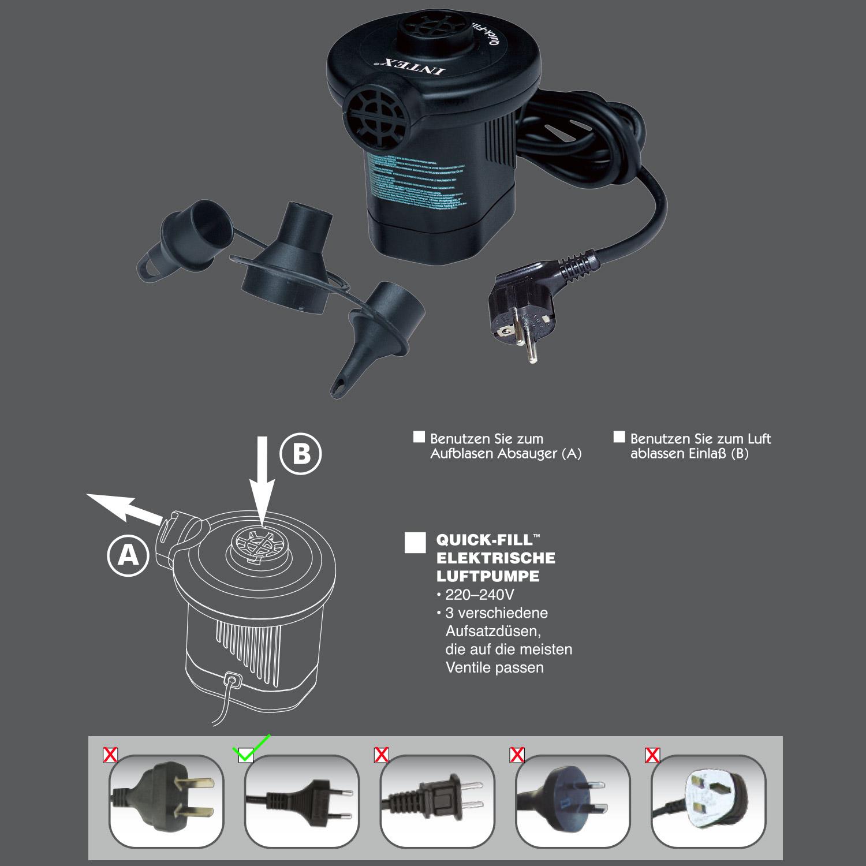 intex luftpumpe pool boot elektrische pumpe bett luftbett doppelhubpumpe 66620 6941057466200 ebay. Black Bedroom Furniture Sets. Home Design Ideas