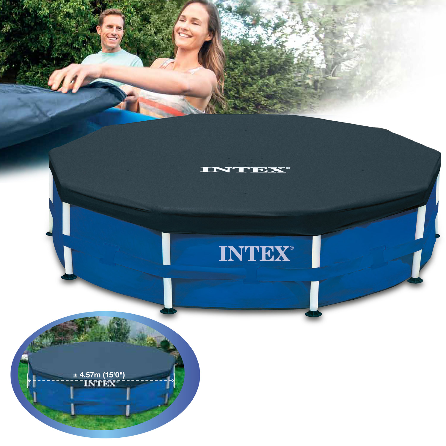 intex pool frame abdeckplane 457 cm. Black Bedroom Furniture Sets. Home Design Ideas