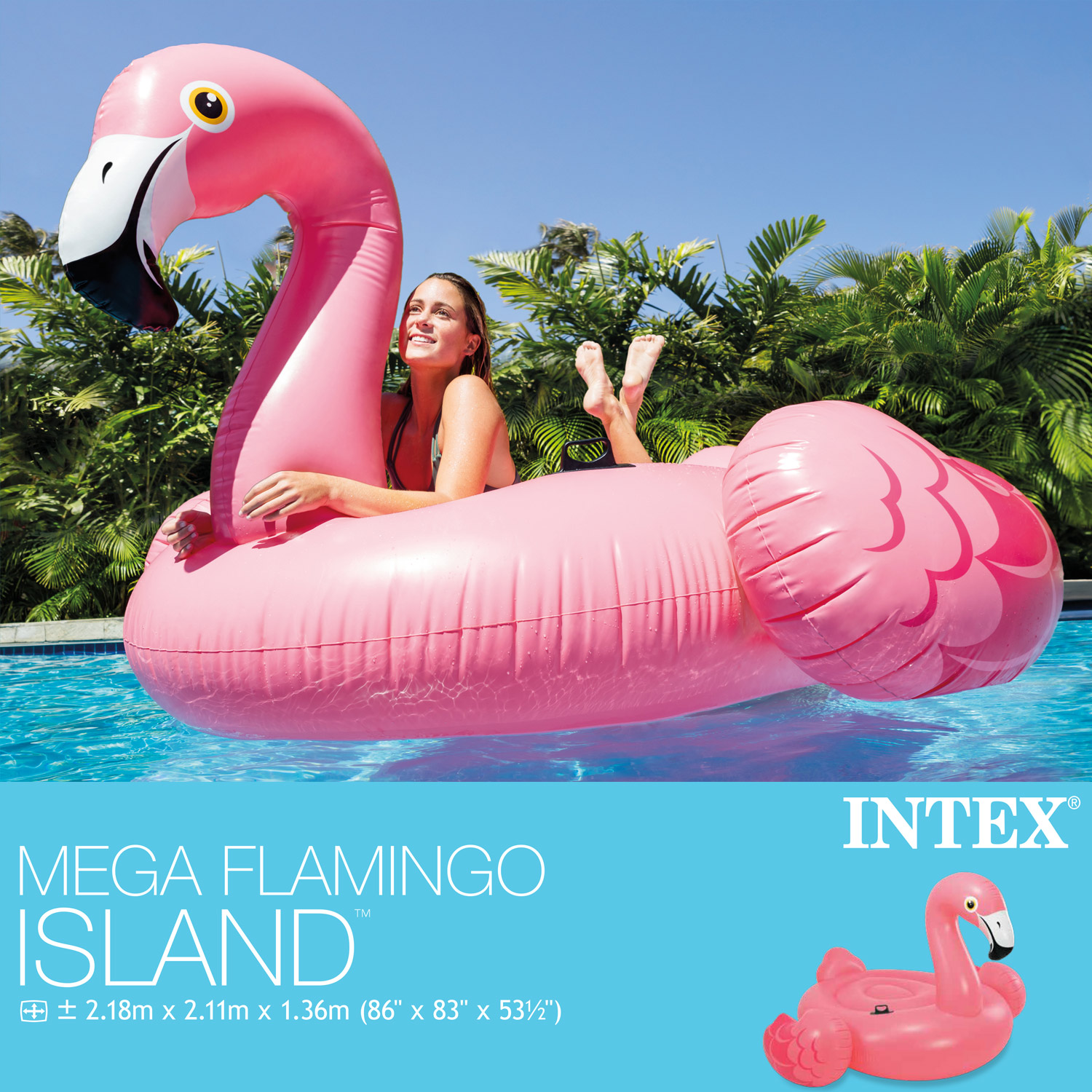 intex 56288 badeinsel flamingo schwimmliege pool lounge wasserliege luftmatratze ebay. Black Bedroom Furniture Sets. Home Design Ideas