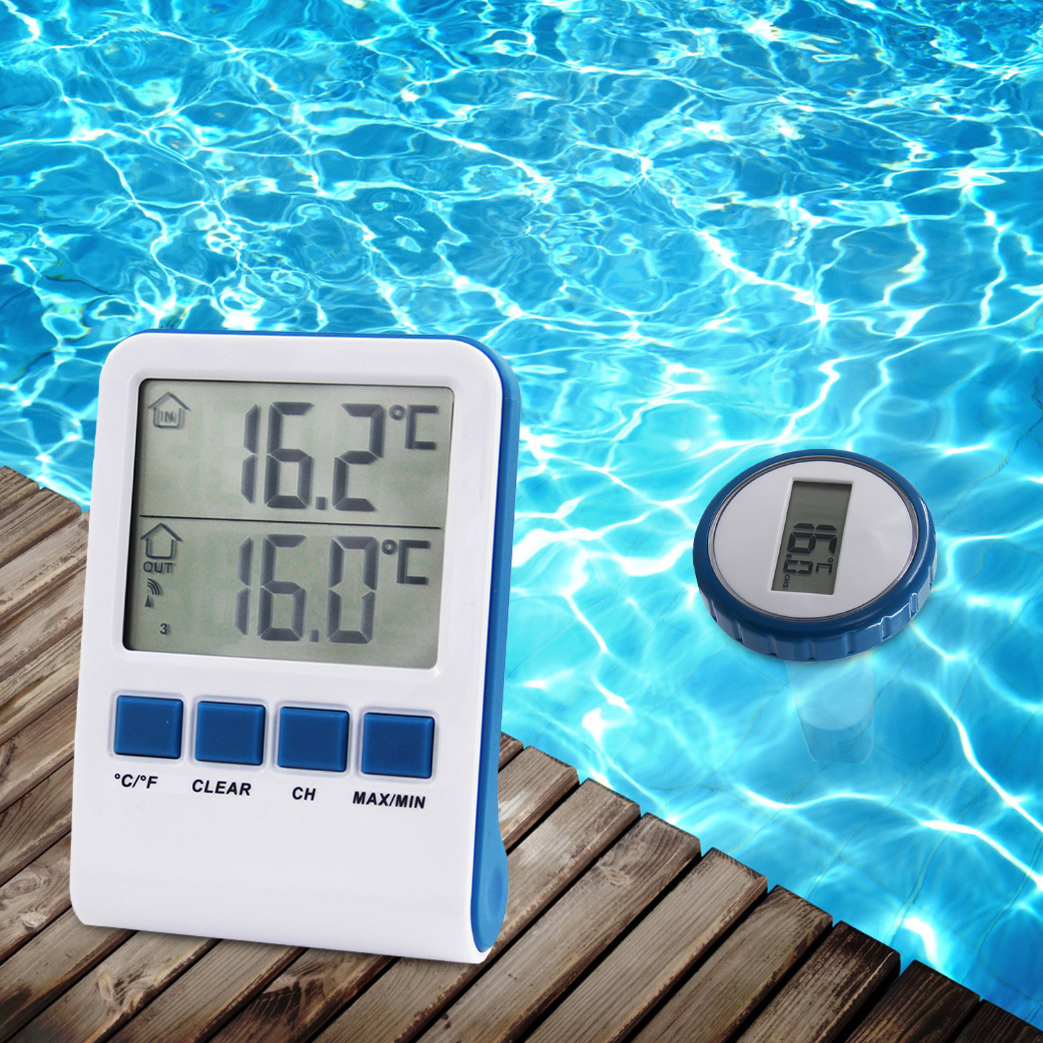 Thermometer digital f r pool wasser wireless for Poolthermometer obi