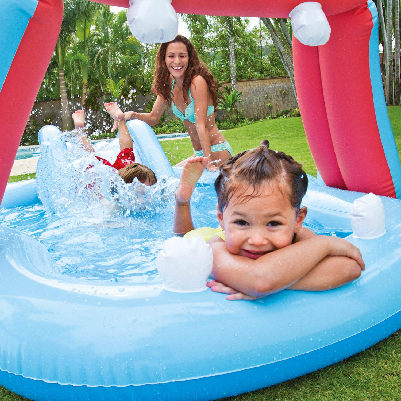 Intex nilpferd play center pool mit rutsche 221x188x86cm for Pool mit rutsche