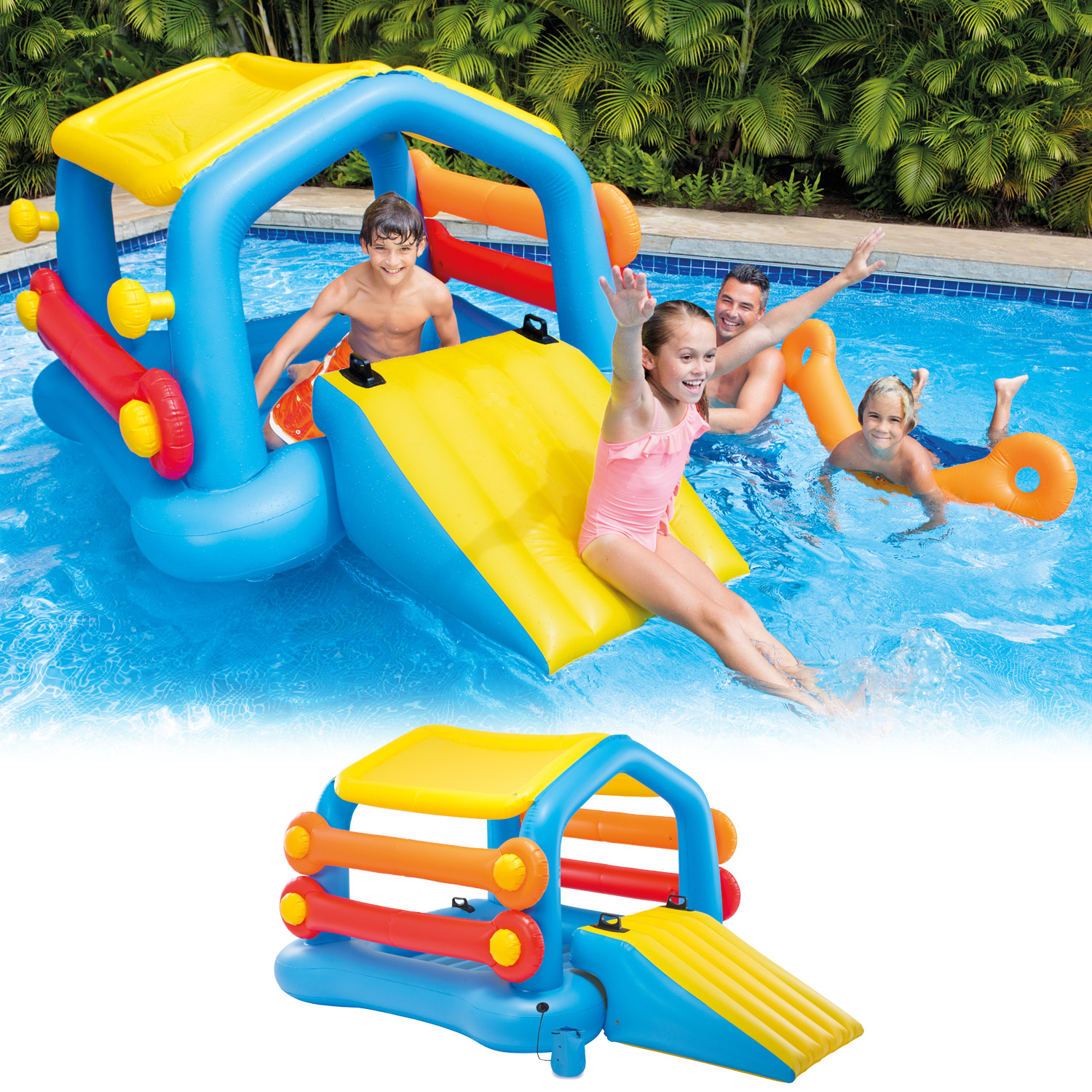 intex badeinsel planschbecken kinder pool mit rutsche spielcenter wasserrutsche ebay. Black Bedroom Furniture Sets. Home Design Ideas
