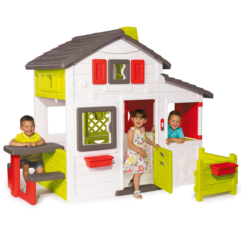 smoby spielhaus friends haus gartenhaus kinder kinderhaus garten h uschen 310209. Black Bedroom Furniture Sets. Home Design Ideas