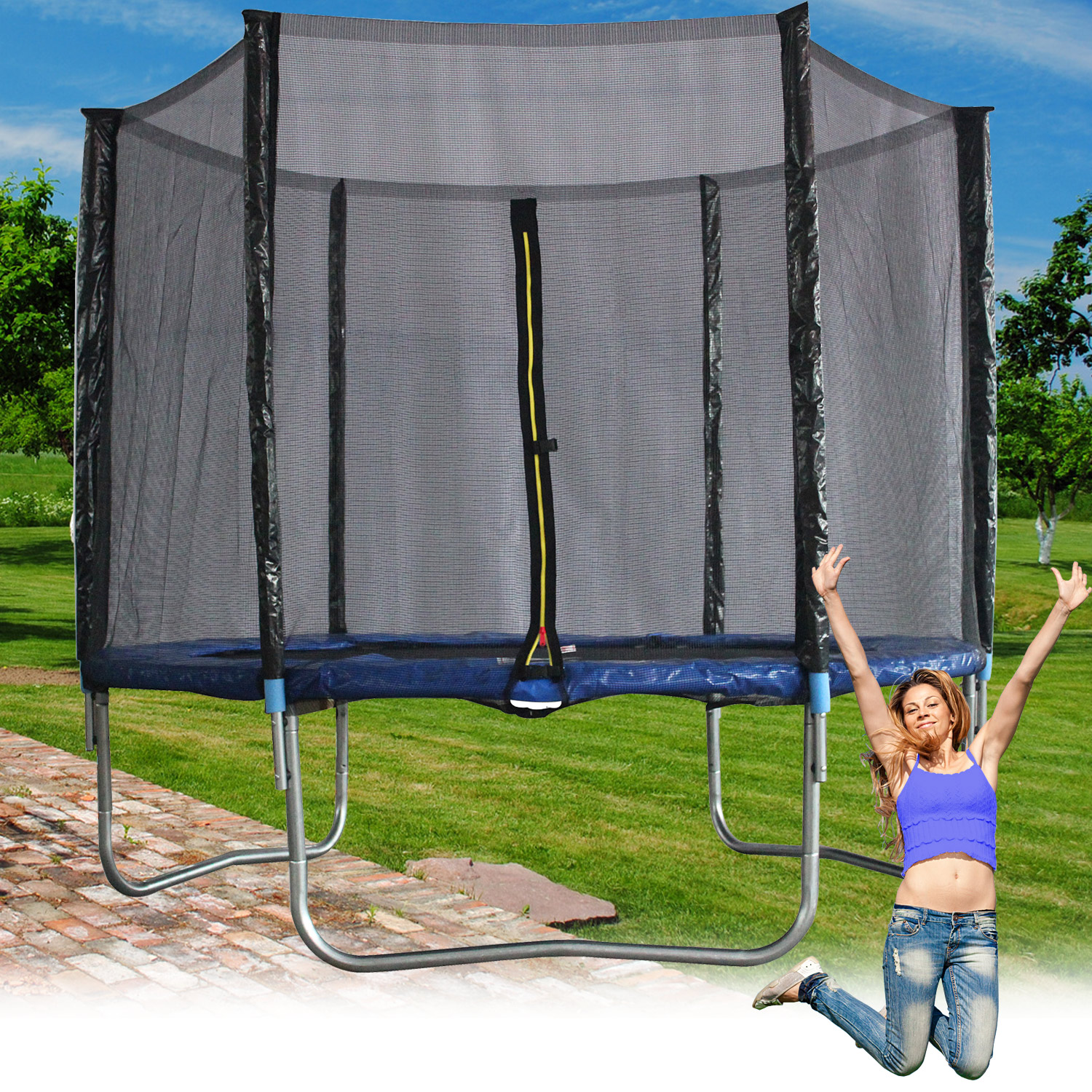 trampolin 244 cm mit netz sicherheitsnetz gartentrampolin f r kinder 8ft blau ebay. Black Bedroom Furniture Sets. Home Design Ideas