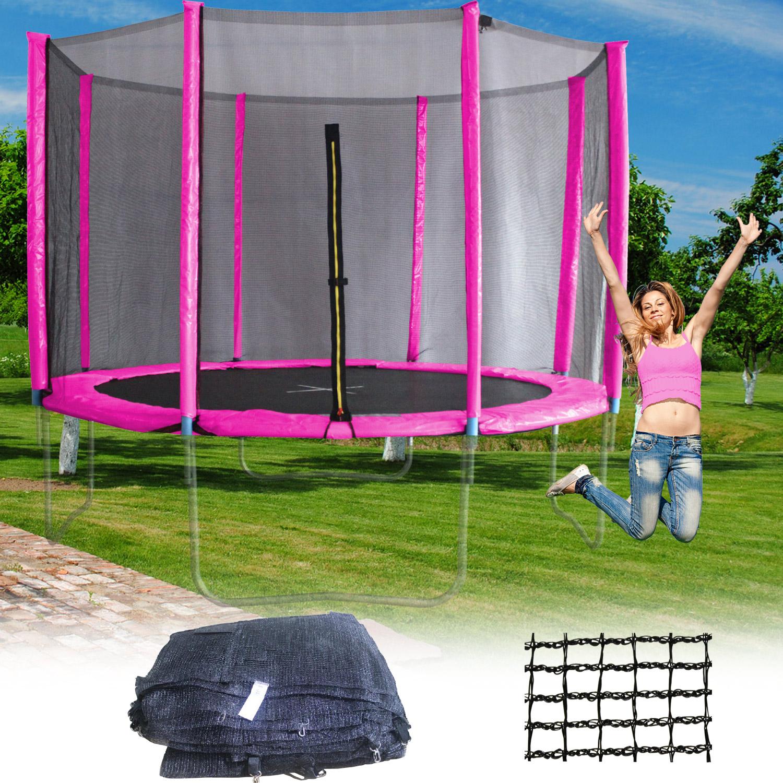 sicherheitsnetz 305cm pink f r trampolin netz mit 8. Black Bedroom Furniture Sets. Home Design Ideas
