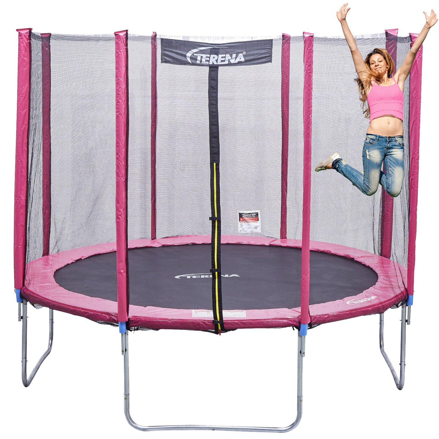 trampolin 305 cm mit netz sicherheitsnetz gartentrampolin. Black Bedroom Furniture Sets. Home Design Ideas
