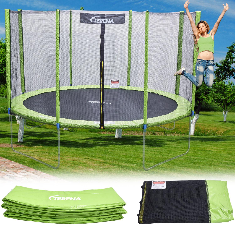 federabdeckung 244 trampolin randabdeckung mit sicherheitsnetz ersatznetz netz ebay. Black Bedroom Furniture Sets. Home Design Ideas