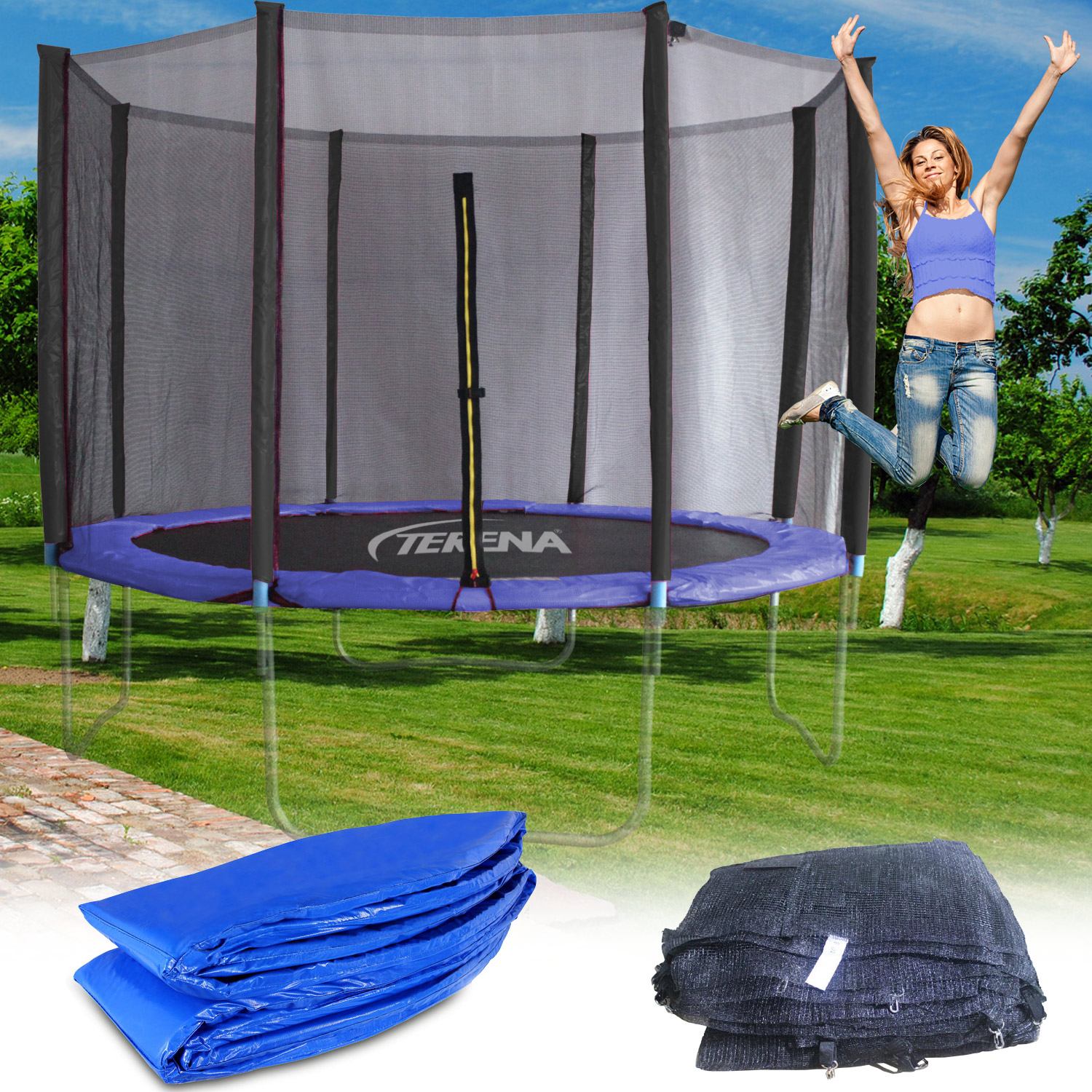 terena sicherheitsnetz federabdeckung f r trampolin 366 cm. Black Bedroom Furniture Sets. Home Design Ideas