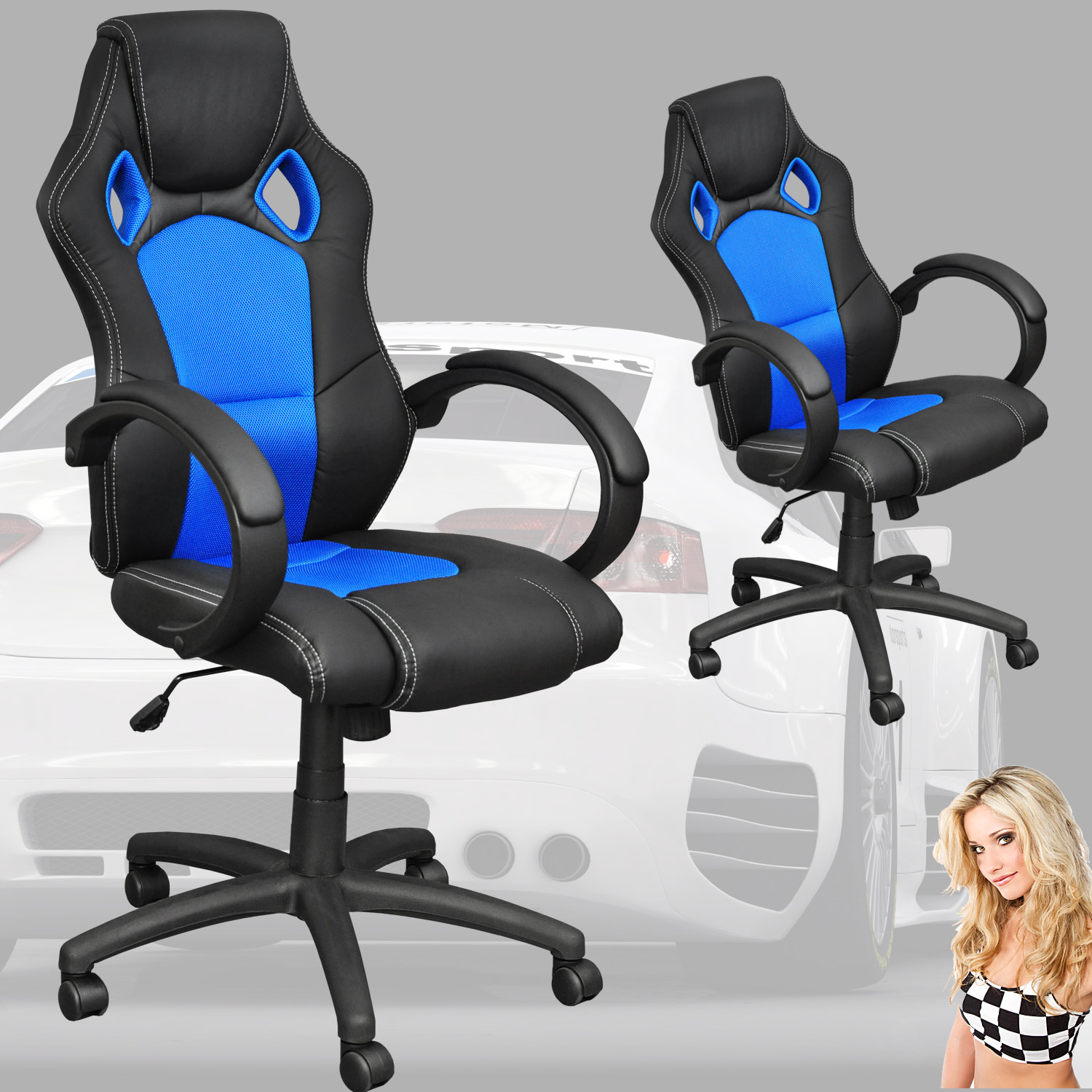 chaise fauteuil si ge de bureau racing sport inclinable essenbach. Black Bedroom Furniture Sets. Home Design Ideas