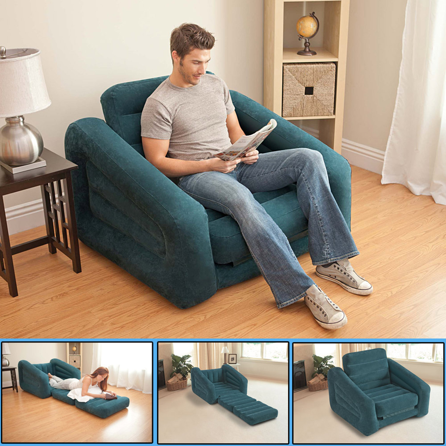 intex sofa couch lounge sessel luftbett ausziehbar camping schlafsofa g stebett ebay. Black Bedroom Furniture Sets. Home Design Ideas
